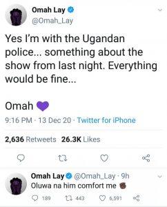 Omah Lay Finally Breaks Silence Following His Arrest in Uganda
